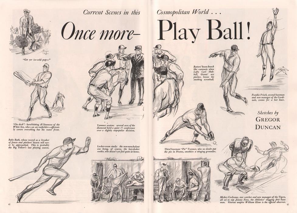 Gregor Duncan Baseball Babe Ruth Cosmopolitan 1934